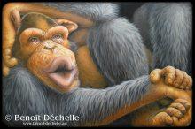 Chimpanzé coincé – Acrylique sur toile – 97 x 146 cm