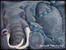 Éléphant coincé – Acrylique sur toile – 150 x 200 cm