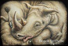 Rhinocéros coincé – Acrylique sur toile – 130 x 195 cm