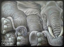 Éléphant coincé - Acrylique sur toile - 54 x 73 cm