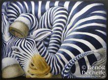 Zèbre coincé - Acrylique sur toile - 54 x 73 cm