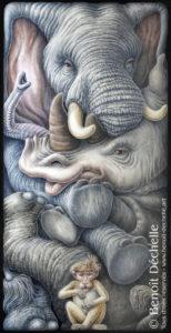 """d'après la Fable de Jean de La Fontaine """"L'Éléphant et le singe de Jupiter"""""""